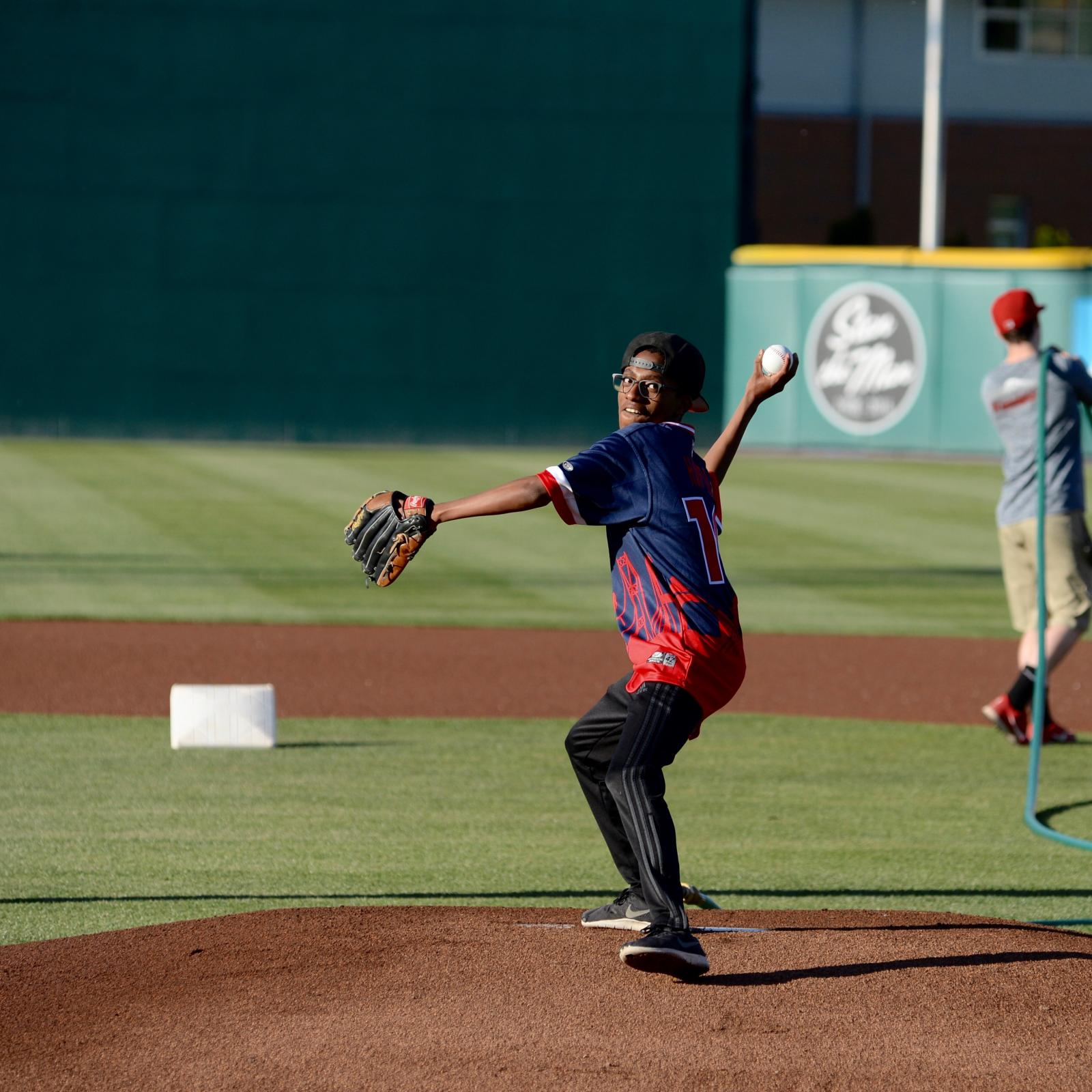 Isayas's first pitch for the Rainiers